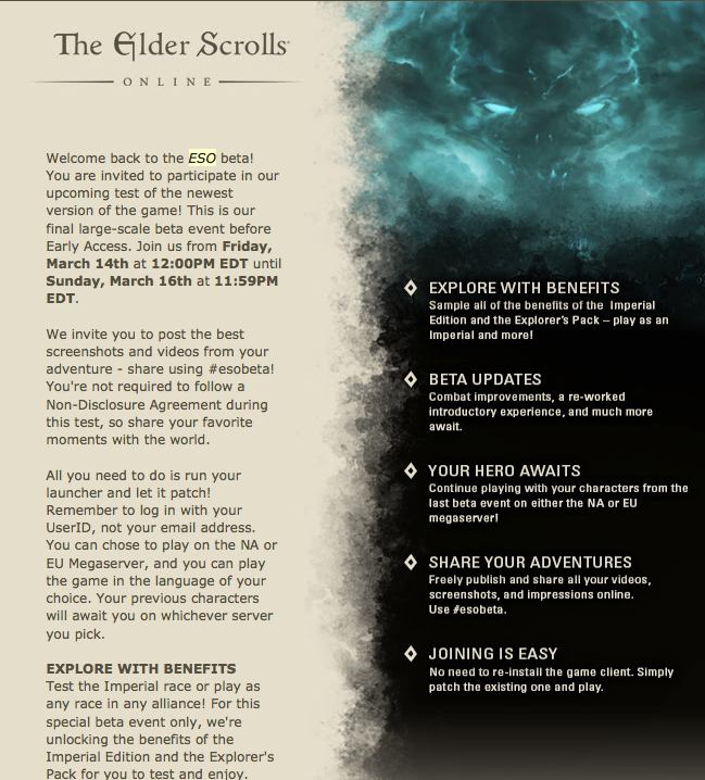 Elder Scrolls Online - Final Beta Test Invite