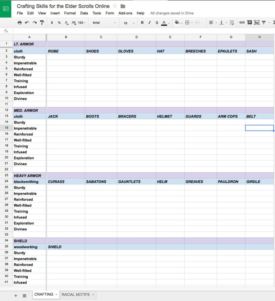 Spreadsheet for individual crafting skills