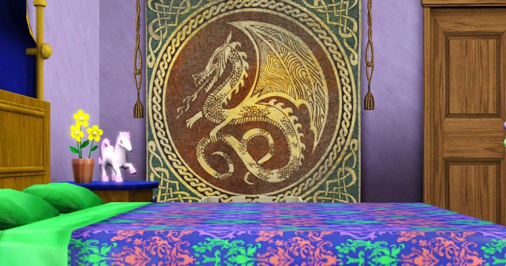 Dragon tapestry viewed across colorful bed