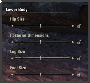 Character creation - Lower body sliders