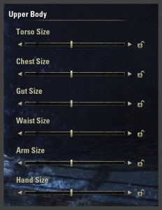 Character creation - Upper body sliders